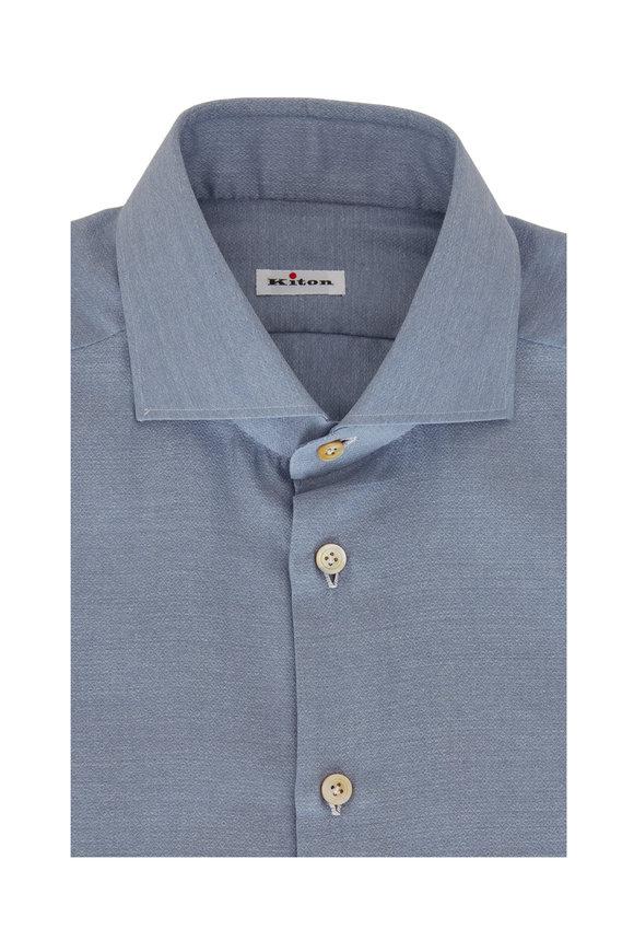Kiton Light Blue Jacquard Sport Shirt