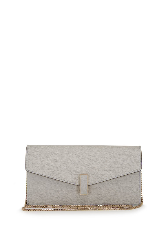 Valextra Iside Light Blue Saffiano Chain Clutch