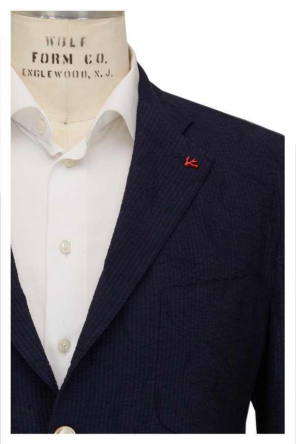 Isaia Navy Seersucker Two-Button Sportcoat