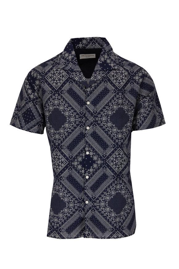 Officine Generale Dario Navy Bandanna Print Short Sleeve Sport Shirt