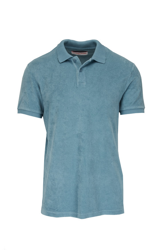 Orlebar Brown Jarrett Towelling Silver Green Terry Polo