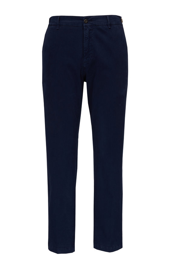 White Sands Navy Cotton Side Tab Pant
