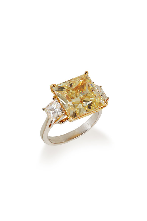 Louis Newman Princess Cut Yellow & White Diamond Ring