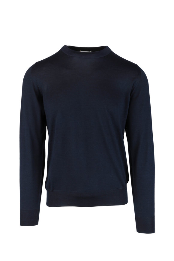 Brioni Navy Blue Wool, Silk & Cashmere Sweater