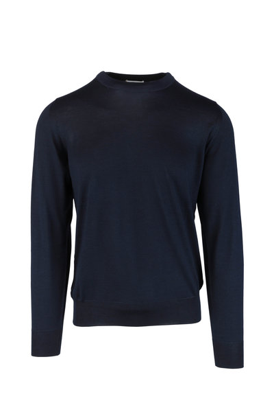 Brioni - Navy Blue Wool, Silk & Cashmere Sweater