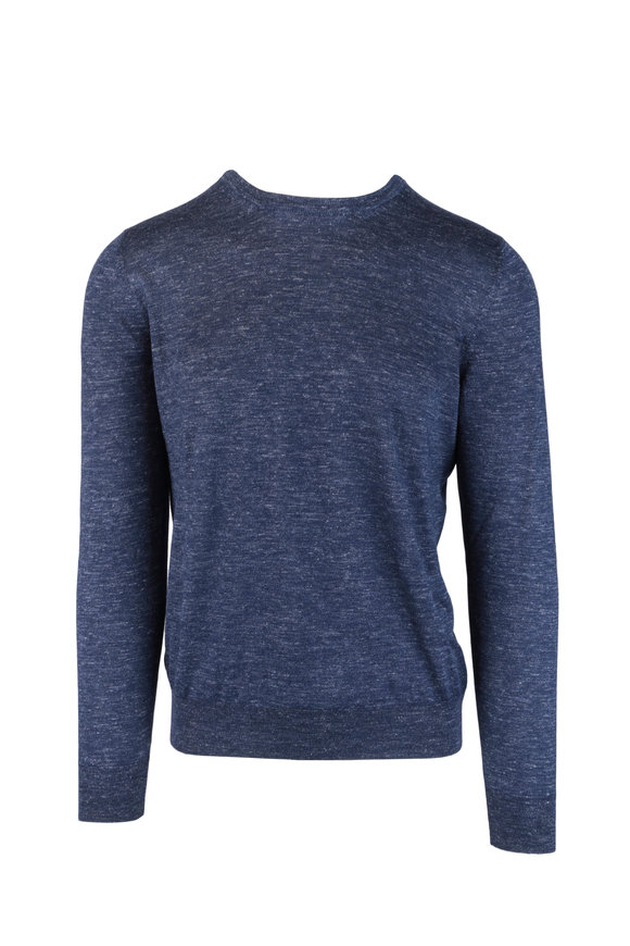 Barba Blue Melange Cashmere, Silk & Linen Sweater