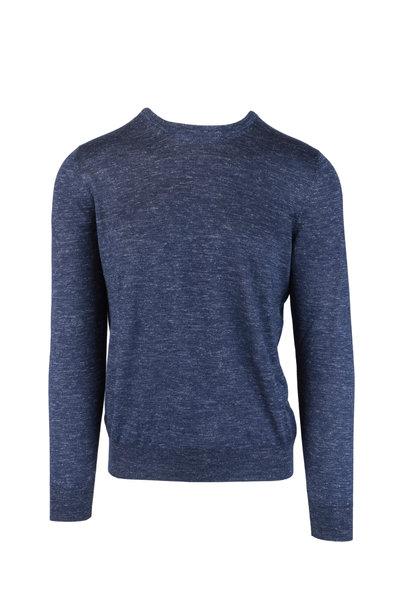 Barba - Blue Melange Cashmere, Silk & Linen Sweater