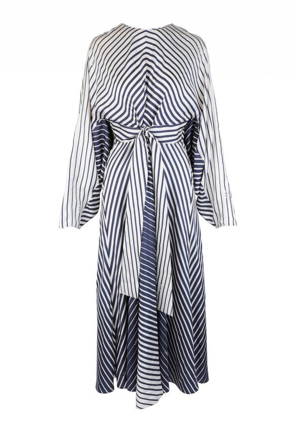Valentino Navy Blue & Ivory Silk Striped Degrade Dress