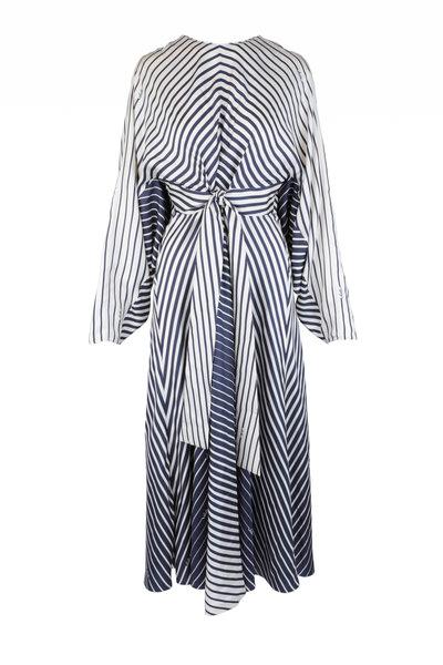 Valentino - Navy Blue & Ivory Silk Striped Degrade Dress