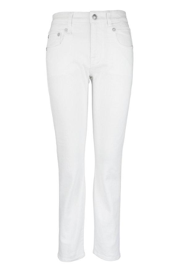 R13 Rinsed White Mid-Rise Boy Skinny Jean