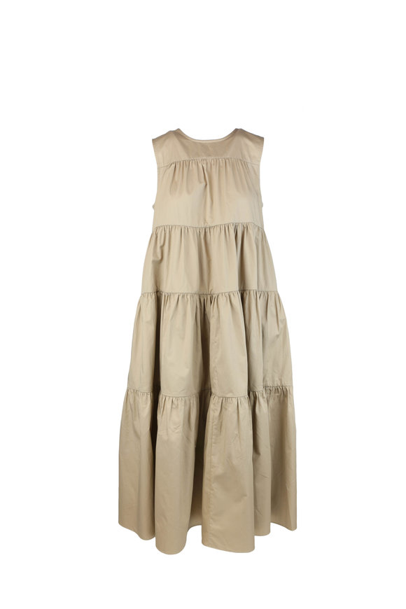 CO Collection Taupe Cotton Tiered Sleeveless Dress