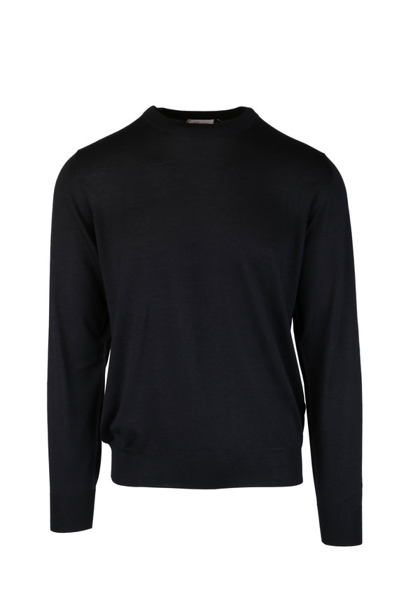 Brioni Black Wool, Silk & Cashmere Crewneck Sweater