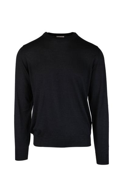 Brioni - Black Wool, Silk & Cashmere Crewneck Sweater