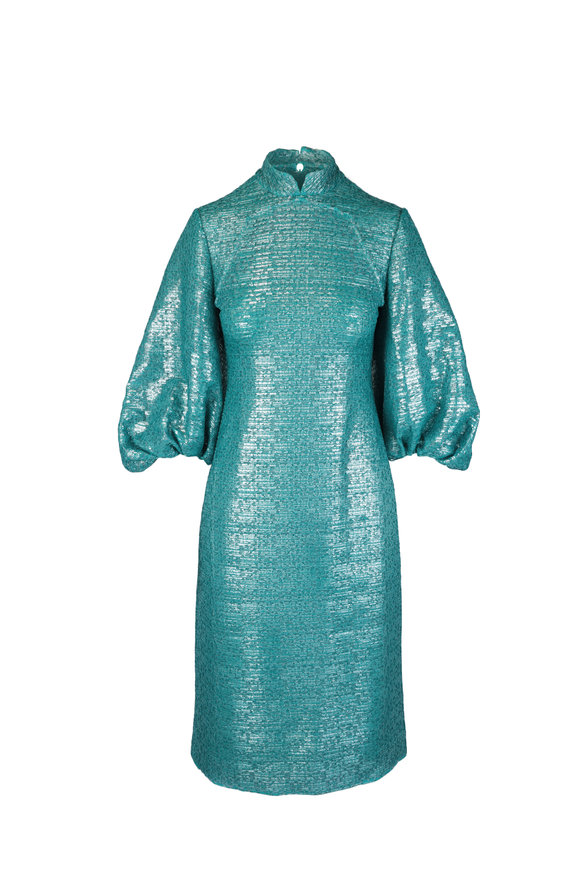 Huishan Zhang Sandie Green Metallic Bell Sleeve Midi Dress