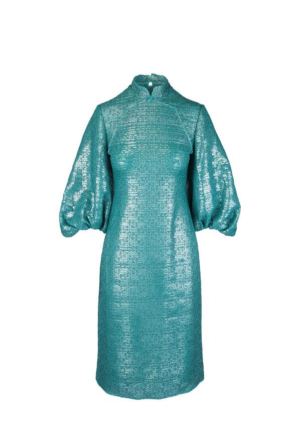 Huishan Zhang Sandie Green Metallic Bell Sleeve Midi Dress