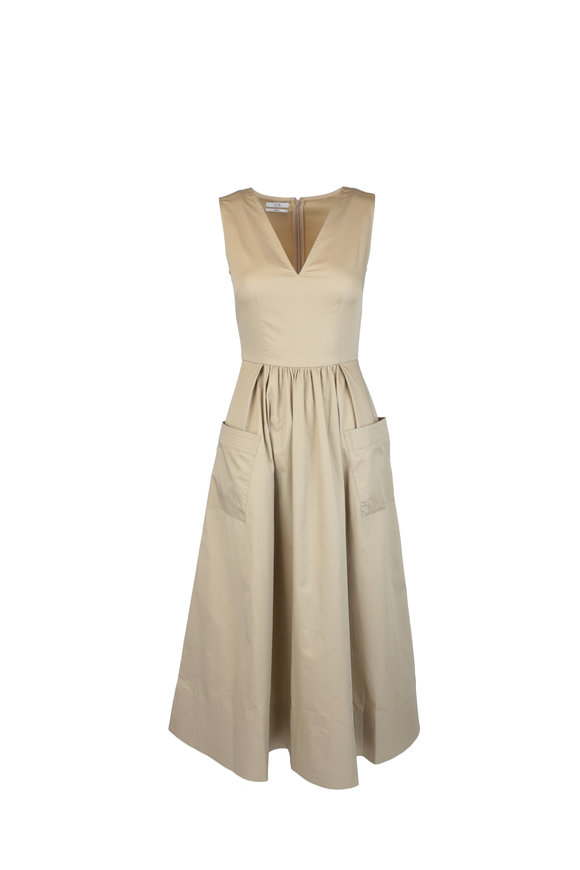 CO Collection Taupe Sleeveless Trapunto Hem Dress