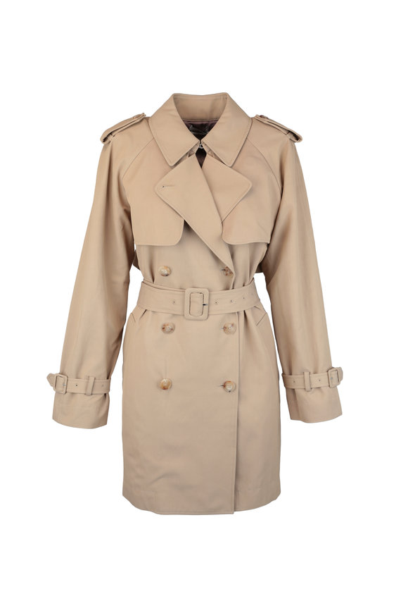 CO Collection Beige Stretch Cotton Trench Coat