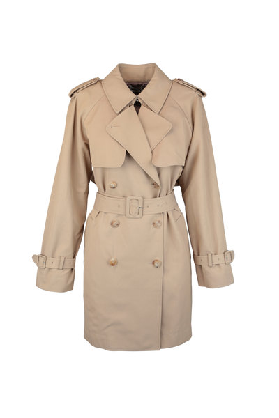 CO Collection - Beige Stretch Cotton Trench Coat