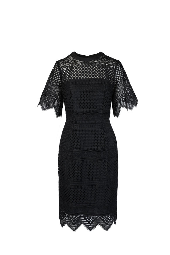 Carolina Herrera Black Lace Flutter Sleeve Sheath Dress