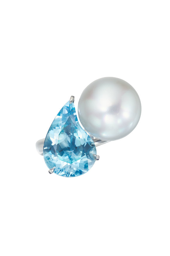 Assael Paisley Aquamarine & South Sea Pearl Ring, Size 6