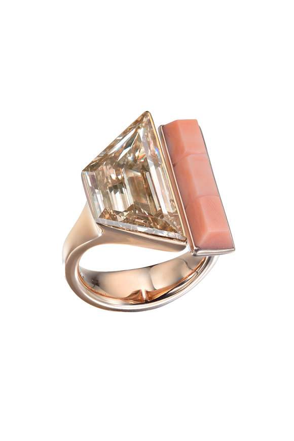 Assael 18K Pink Gold Diamond & Angel Skin Coral Ring