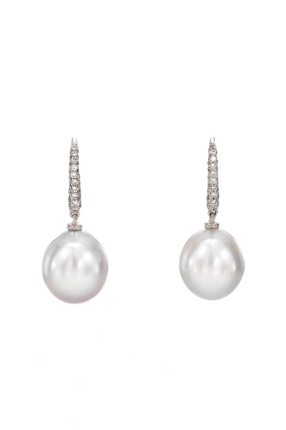 Assael 18K White Diamond & South Sea Pearl Drop Earrings