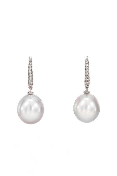 Assael - 18K White Diamond & South Sea Pearl Drop Earrings