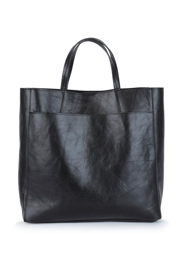 B May Bags Black Leather Tote Bag