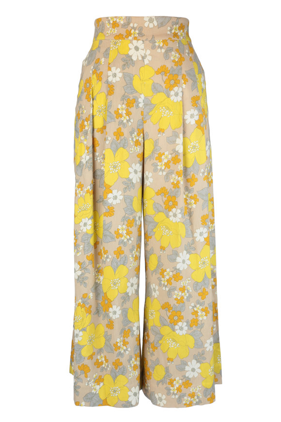 Veronica Beard Leonor Yellow Floral Linen Flowy Pant