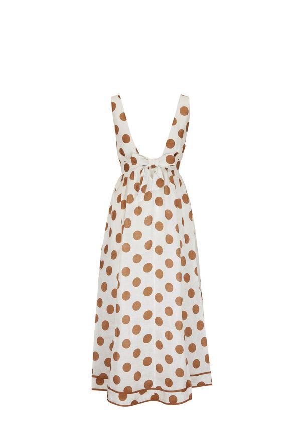 Zimmermann Brown Linen Polka-Dot Sleeveless Long Dress