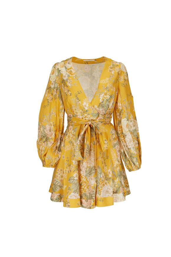 Zimmermann Amelie Yellow Floral Puff Sleeve Wrap Dress