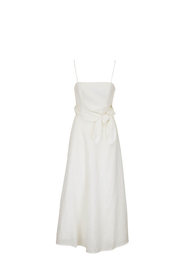 Zimmermann Amelia Ivory Linen Scarf-Tie Dress