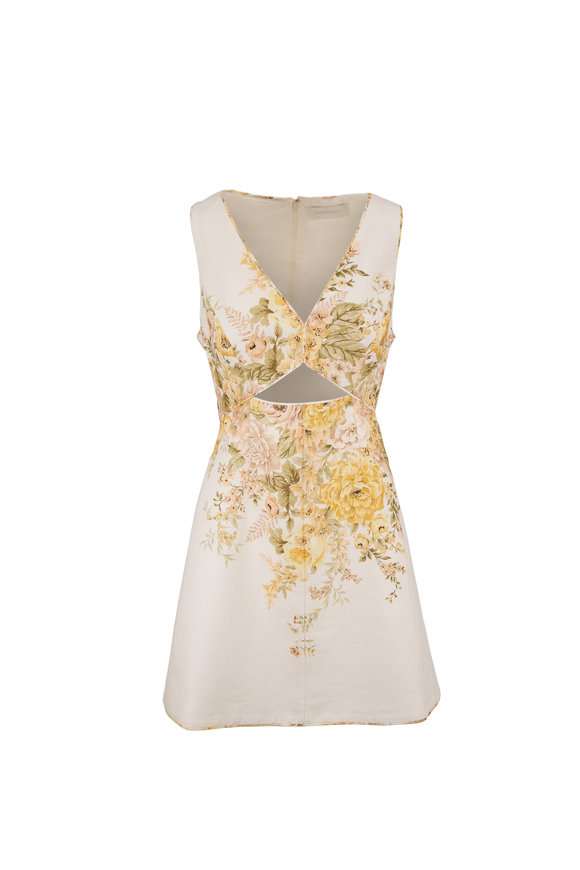 Zimmermann Amelie Gold Floral Cut-Out Sleeveless Dress