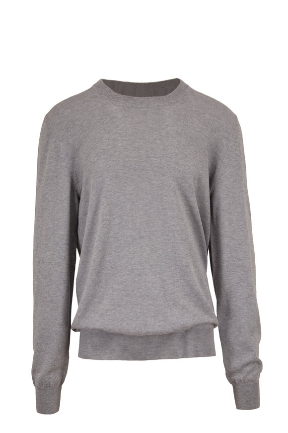Maison Margiela Heather Gray Suede Elbow Patch Pullover
