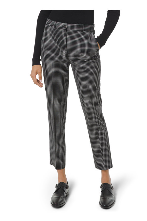 Michael Kors Collection Sam Black Stretch Wool Mini Windowpane Pant