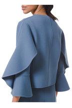 Michael Kors Collection - Storm Blue Bouclé Ruffled-Sleeve Jacket