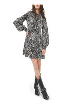 Michael Kors Collection - Black Speckled Pony Crepe De Chine Tiered Dress