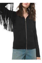 Michael Kors Collection - Black Cashmere & Leather Fringed Zip Hoodie