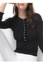 Michael Kors Collection - Black Ribbed Merino Wool Ruffle Pearl Henley