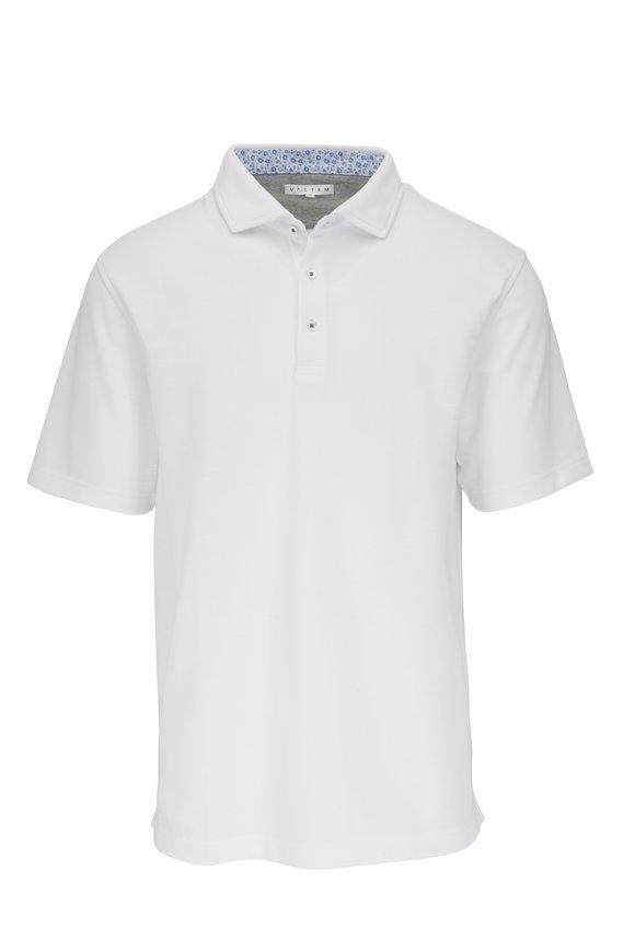 Vastrm White Pique Sport Fit Polo