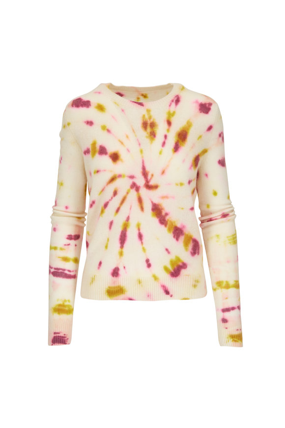 The Elder Statesman Pink & Yellow Swirl Tranquility Crewneck Sweater