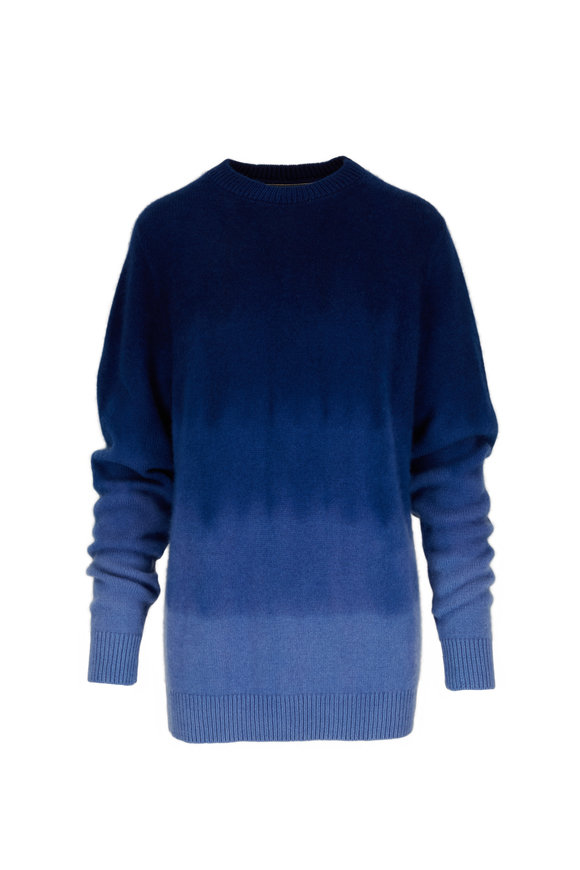 The Elder Statesman Gradient Blue Cashmere Crewneck Sweater