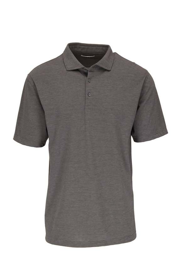 Vastrm Charcoal Striped Cotton Jersey Polo