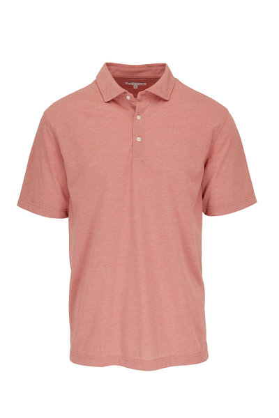 Vastrm - Rust Red Striped Cotton Jersey Polo