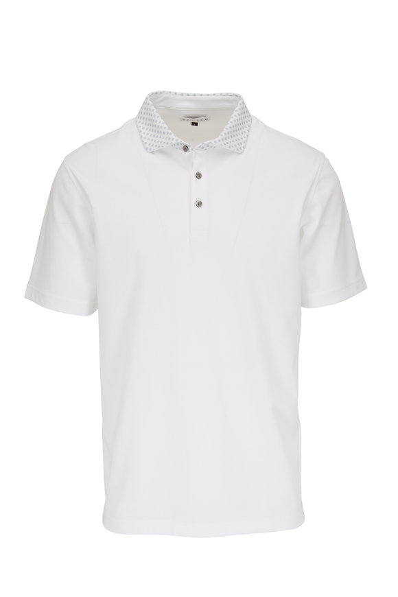 Vastrm Solid White Contrast Woven Collar Polo