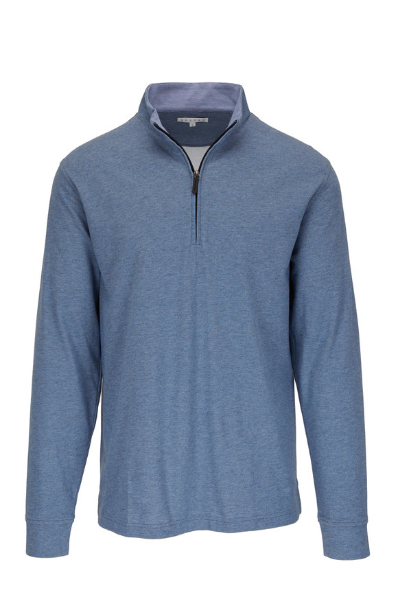 Vastrm Heather Blue Tech Sport Fit Quarter-Zip Pullover