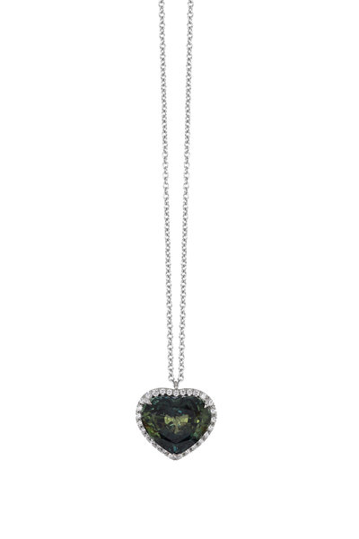 Bayco - Platinum Green Sapphire Heart Pendant Necklace