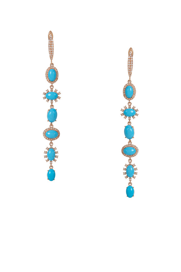 Kai Linz 14K Yellow Gold Turquoise & Diamond Drop Earrings