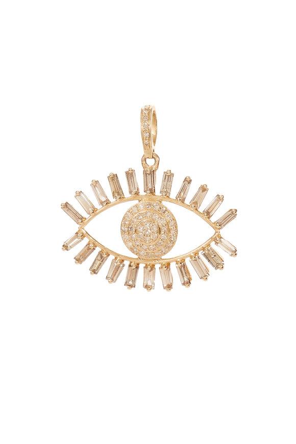 Kai Linz 14K Yellow Gold Diamond Evil Eye Charm