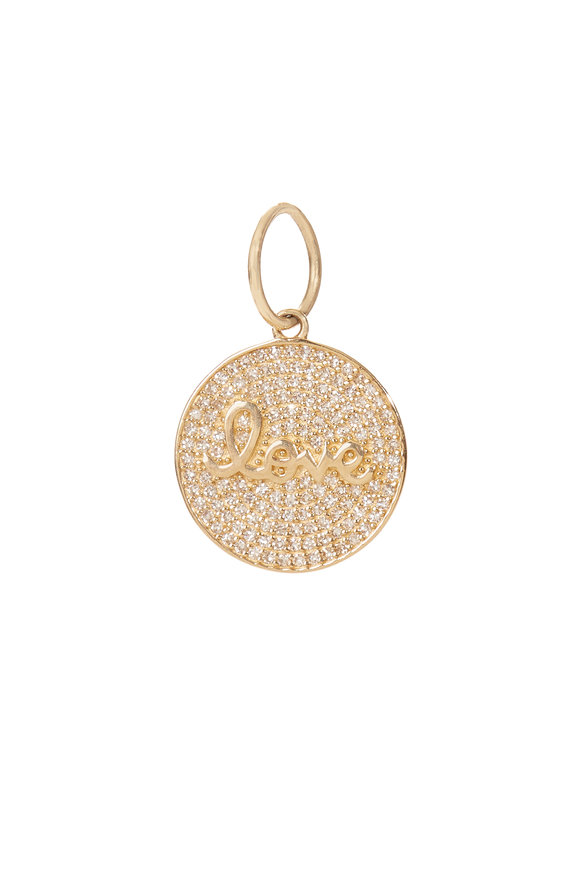 Kai Linz 14K Yellow Gold Diamond Love Disc Charm